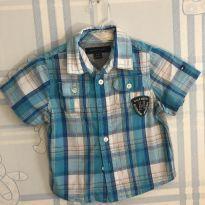 Camisa manga curta Xadrez Azul Tommy Hilfiger NUNCA USADA!!! 3 a 6M - 3 a 6 meses - Tommy Hilfiger