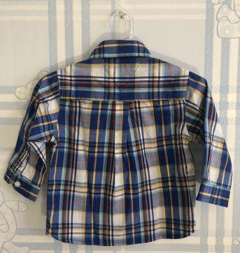 Camisa manga longa Xadrez Azul Tommy Hilfiger NUNCA USADA!!! 6 a 9M - 6 a 9 meses - Tommy Hilfiger