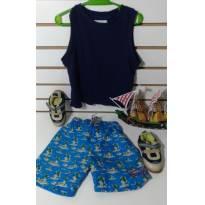 Conjunto camiseta regata e shorts tec tel - 24 a 36 meses - Pool Kids