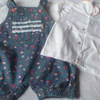 Jardineira com blusinha tamanho M - 3 a 6 meses - Ki Baby