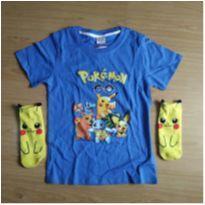Camiseta + Meia Pokemon Pikachu - 8 anos - Sem marca