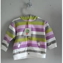 Blusão moletom peluciado listrado - 12 a 18 meses - Tilly Baby