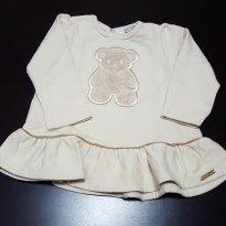 Blusa Peplum Bege Ursinho Carinhoso - 9 a 12 meses - Carinhoso
