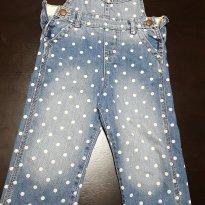 Jardineira Jeans Poa branco Osh Kosh Bgosh - 3 anos - OshKosh