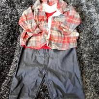 Macacão peça unica Camisa Xadrez com abertura de botoes - 6 a 9 meses - Keko Baby