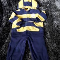Conjunto carters em fleece azul marinho e mostarda - 6 meses - Carter`s