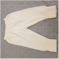 Calça marfim moletom - 0 a 3 meses - Não informada