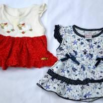 Kit Lote 2 Vestidos Menina Estampado E Bordado 1-3 Meses - 0 a 3 meses - Várias