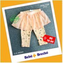 calça legging infantil estampada unicórnios com tule - 3 a 6 meses - Baby Club