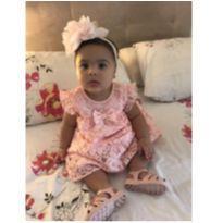 Vestido Rosa Bebê em Renda com forro - 18 meses - Importada