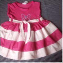Vestido rosa com laço - 3 a 6 meses - Não informada