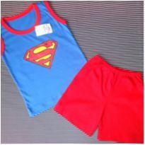 Conjunto Super Man - 3 a 6 meses - Não informada