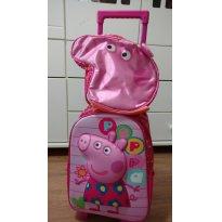 Kit Mochila com rodinhas e lancheira Peppa Pig (mochilete) - Sem faixa etaria - xeryus