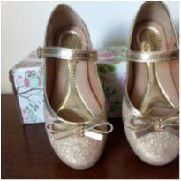 Sapatilha ouro gliter - 28 - Bonekinha Linda