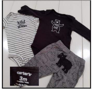 Conjunto 3 peças Carter`s 3 meses - 6 a 9 meses - carter`s, baby gap, zara