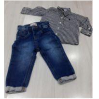 Calça jeans com strech e camisa social - 6 a 9 meses - Não informada