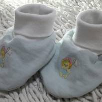 Pantufinha / Sapatinho de Pano para Bebê Azul e Branco - 13 - Não informada
