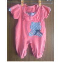 Macacão rosa, em plush - 3 a 6 meses - Baby