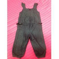 Macacào Jeans - 6 a 9 meses - Não informada