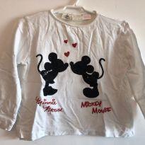 Camiseta Manga Longa Mickey e Minnie da Zara - 18 a 24 meses - Zara Baby