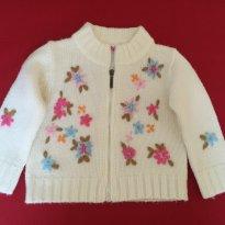 Casaquinho em lã com flores bordadas - Tamanho: 12 meses - 1 ano - Brum Beby
