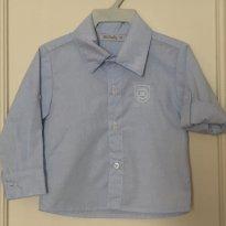 Camisa social azul Bárbara Kids - Tamanho: M - 6 meses - Barbara Kids