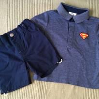 Conjunto short e camisa polo  DC Comics - Tamanho: 9 - 12 meses - 9 a 12 meses - DC Comics