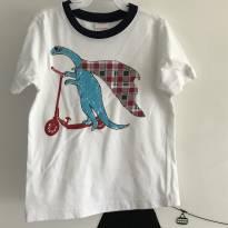 T-shirt branca dino de patinete Gymboree - Tamanho: 18 a 24 meses - 18 a 24 meses - Gymboree