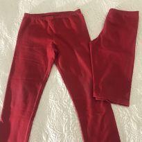 Calça  e bermuda legging vermelha - 10 anos - Alakazoo!