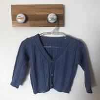 Casaquinho malha tricô azul sem uso - 0 a 3 meses - Não informada