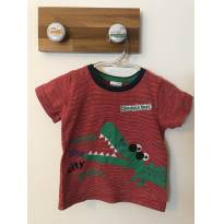 Camiseta listrada divertida de jacaré! - 3 a 6 meses - Boca Grande