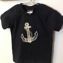 Camiseta azul marinho com âncora sem uso - 9 a 12 meses - Vrasalon