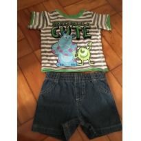 Conjunto Shorts Jeans e Camiseta Monstros SA - Disney - 3 a 6 meses - Disney baby