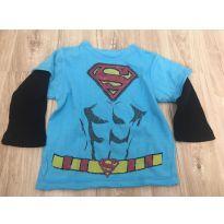 Camiseta Manga longa Super Homem - 9 a 12 meses - Importada