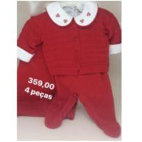 Saída Maternidade Linha 4 peças vermelha - Recém Nascido - Arte Minas