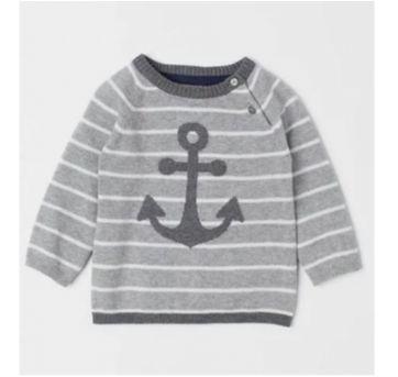 Suéter Infantil Menino H&M Original Listrado Cinza NOVO - 24 a 36 meses - H&M