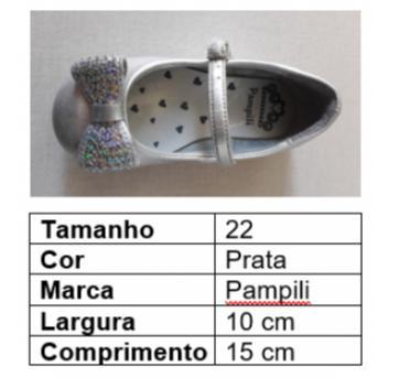 Sapato laço prata - 22 - Pampili