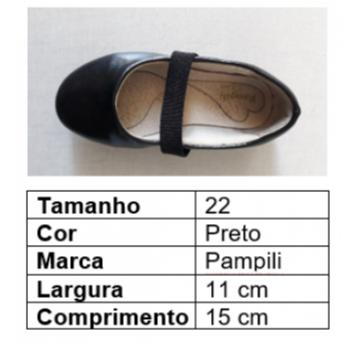 Sapato bailarina verniz preto - 22 - Pampili