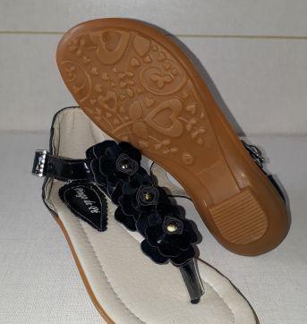 Sandália preta com flores - 27 - Pingo de Pé