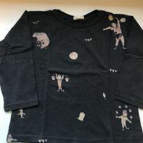 Camiseta manga longa cinza - 4 anos - Zara