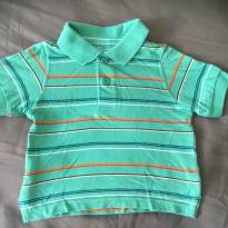 [CD285] Blusa Curta Malha Pólo Listrada - 6 a 9 meses - The Children`s Place
