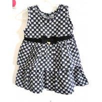 Vestido Babados Marinho - 9 a 12 meses - Marisol