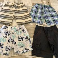 Kit com 4 shorts/bermudas 2/3 anos