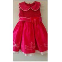 Vestido pink artesanal - 12 a 18 meses - Não informada