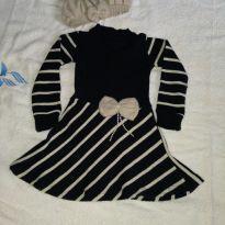 Vestido de linha com touca de linha - 2 anos - Linha