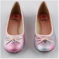 Sapatilha infantil Molekinha com glitter e laço rosa - 30 - Molekinha