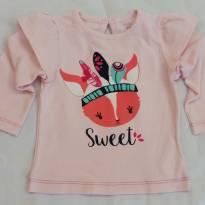 Camiseta para menina sweet estampa de raposa Teddy Boom - 3 a 6 meses - Teddy Boom