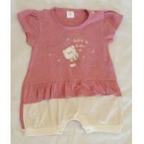 Macacão manga curta menina Presente de Anjo - 6 a 9 meses - Presente de Anjo