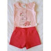 Conjunto camiseta e shorts para menina Pulla Bulla - 6 a 9 meses - Pulla Bulla
