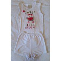 Conjunto body e shorts para menina ursinho melancia - 6 a 9 meses - Korte e Rekorte